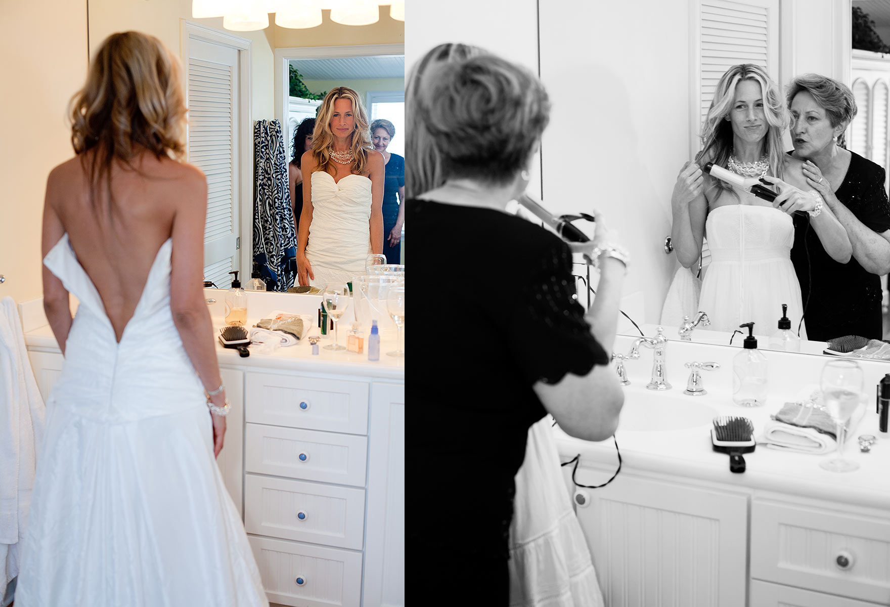 Mother and daughter getting ready, destination wedding